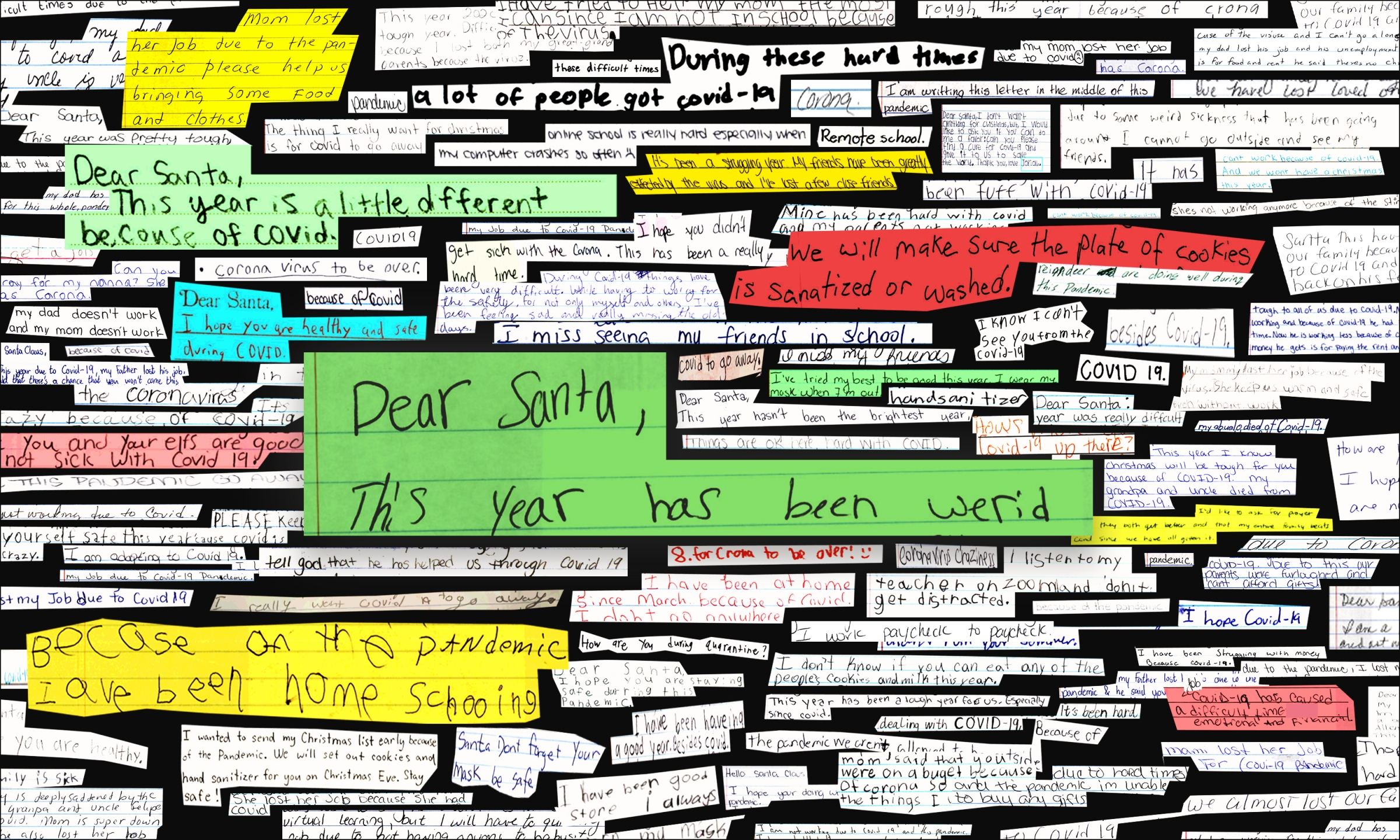 A collage of children's letters to Santa.