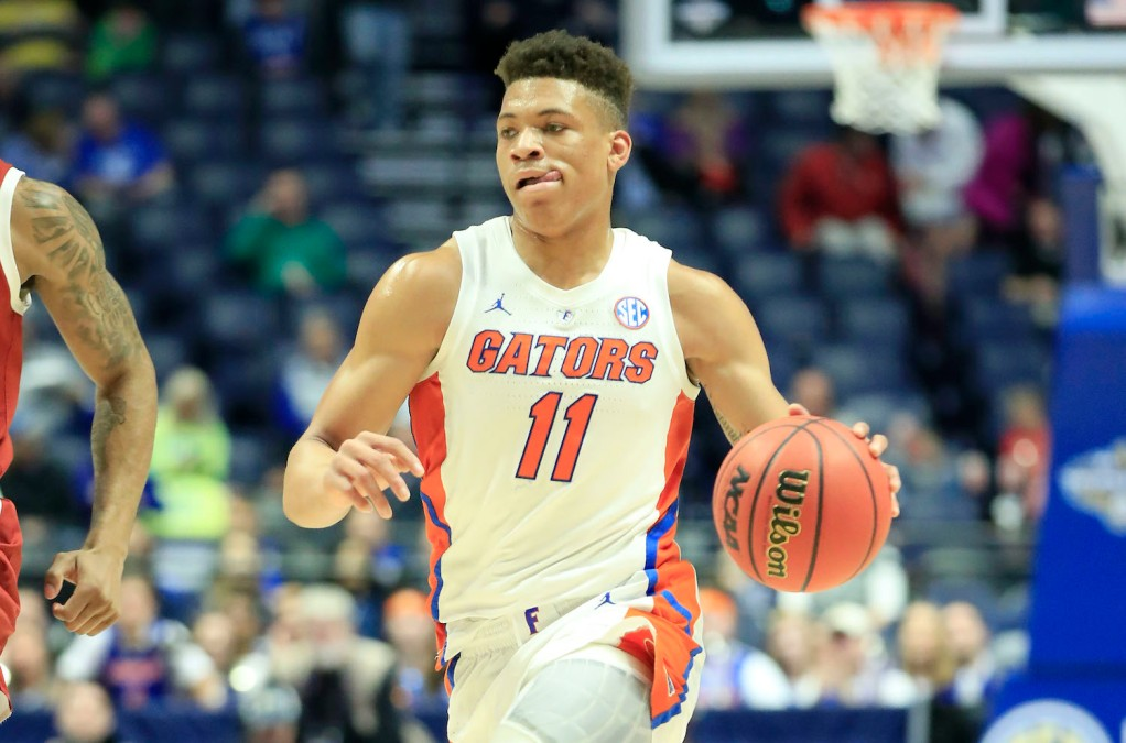 NASHVILLE, TENNESSEE - MARCH 14: Keyontae Johnson #11 of the Florida Gators dribbles the ball against the Arkansas Razorbacks during the second round of the SEC Basketball Tournament at Bridgestone Arena on March 14, 2019 in Nashville, Tennessee. (Photo by Andy Lyons/Getty Images)