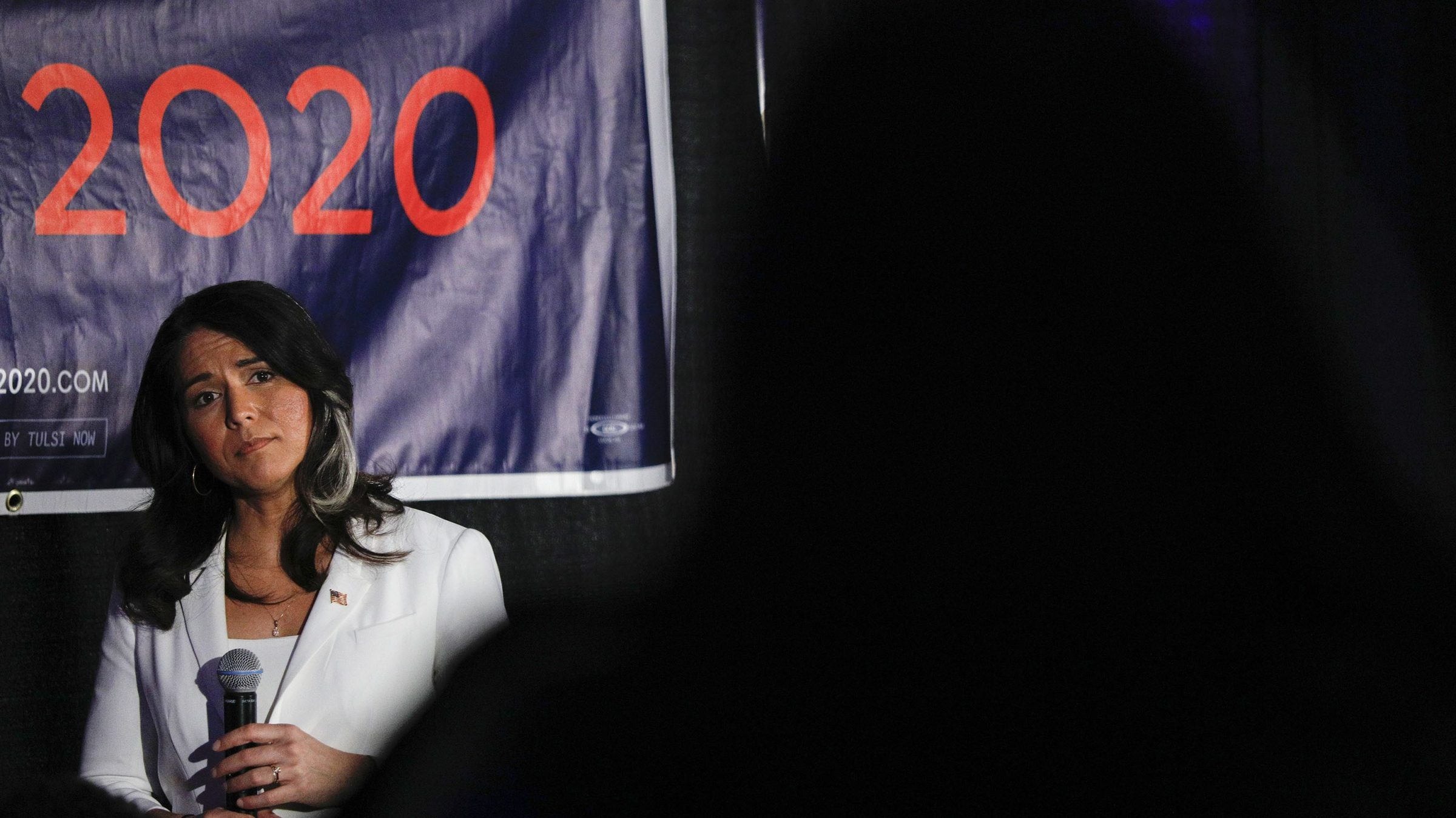 Democratic presidential candidate U.S. Representative Tulsi Gabbard (D-HI) listens to a question at a Town Hall meeting on Super Tuesday Primary night on March 3, 2020 in Detroit, Michigan.