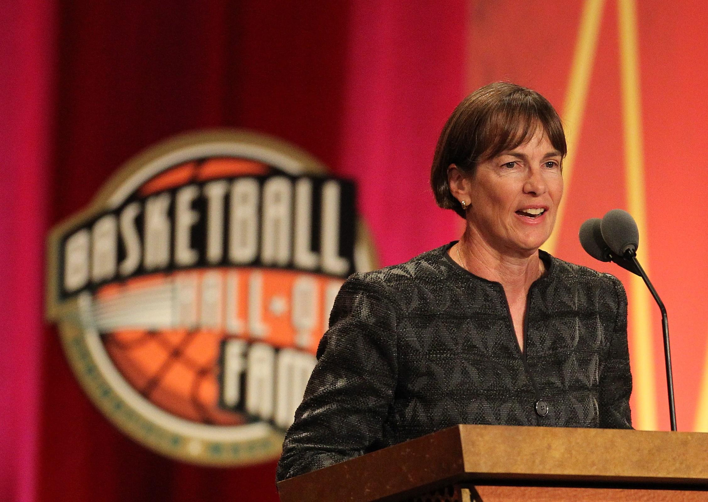 Tara VanDerveer speaks during the Basketball Hall of Fame Enshrinement Ceremony at Symphony Hall on August 12, 2011 in Springfield, Massachusetts.