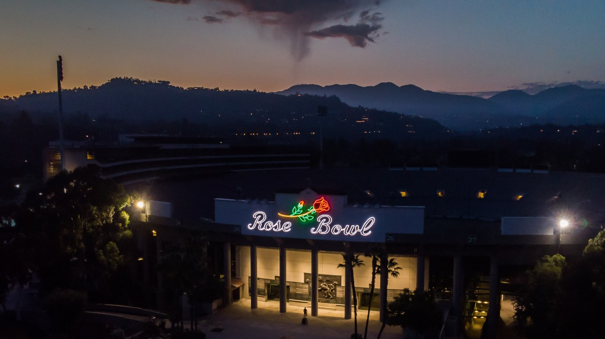 An aerial view shows The Rose Bowl Stadium in Pasadena, California.