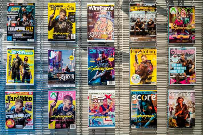 Magazine covers with Cyberpunk characters are seen in the headquarter of CD PROJECT - the most important polish game developer company, poses for a photo on December 4, 20202 before the expected release of Cyberpunk 2077 game, in Warsaw, Poland.