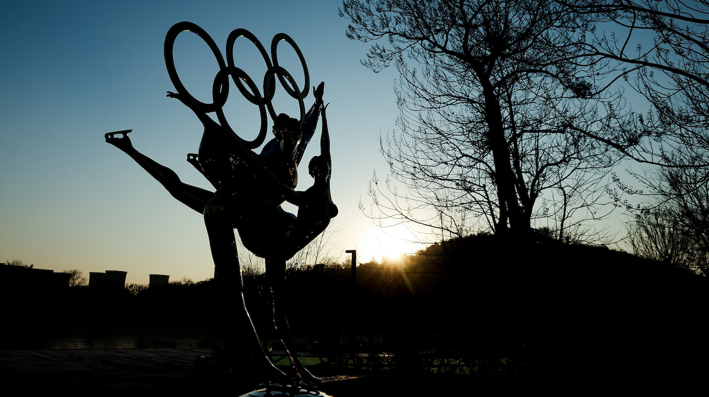 BEIJING, CHINA - DECEMBER 16: A sculpture depicts Olympic figure skaters for the 2022 Beijing Winter Olympics at Shougang Park on December 16, 2020 in Beijing, China. The organizing committee introduced the latest progress of the Olympic venues, all competition venues will be completed this year. (Photo by Lintao Zhang/Getty Images)