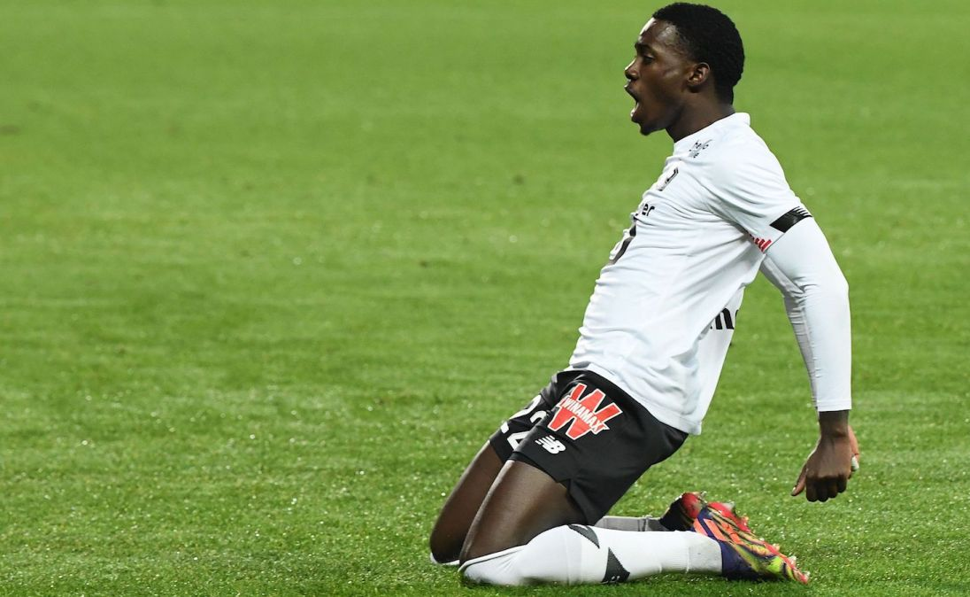 Lille's US midfielder Timothy Weah celebrates after scoring a goal during the French L1 football match between Dijon FCO (DFCO) and Lille (LOSC), at the Gaston Gerard Stadium in Dijon, central France, on December 16, 2020.