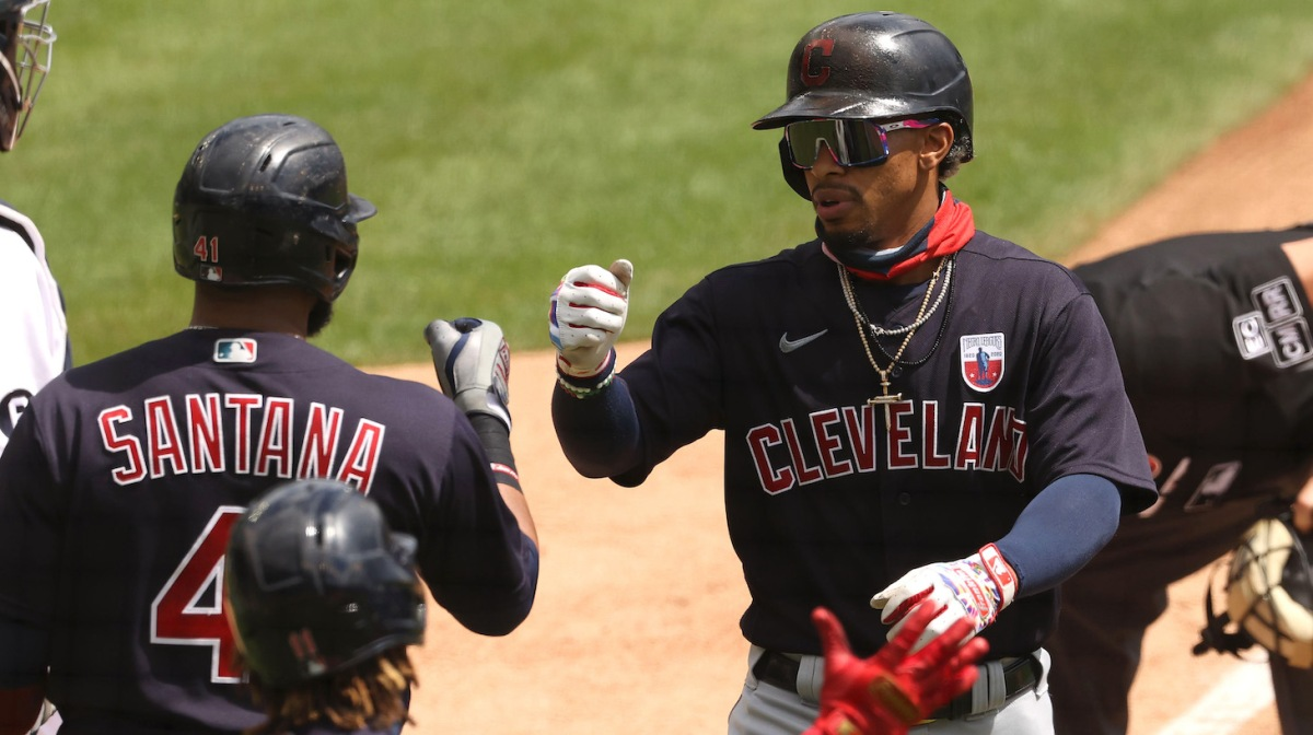 DETROIT, MICHIGAN - AUGUST 16: Francisco Lindor #12 of the Cleveland Indians celebrates his third inning two run home run with Carlos Santana #41 and Jose Ramirez #11 while playing the Detroit Tigers at Comerica Park on August 16, 2020 in Detroit, Michigan. (Photo by Gregory Shamus/Getty Images)