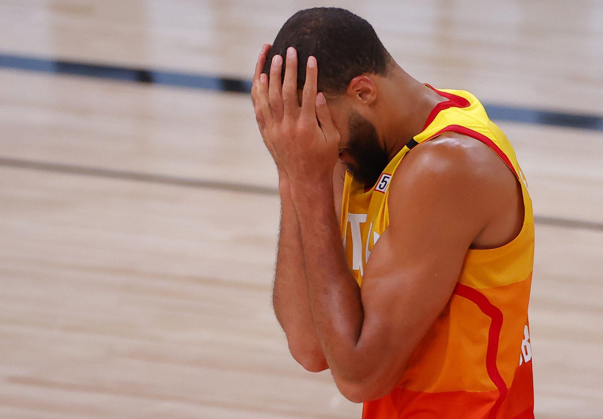 Rudy Gobert of the Utah Jazz looks miserable.