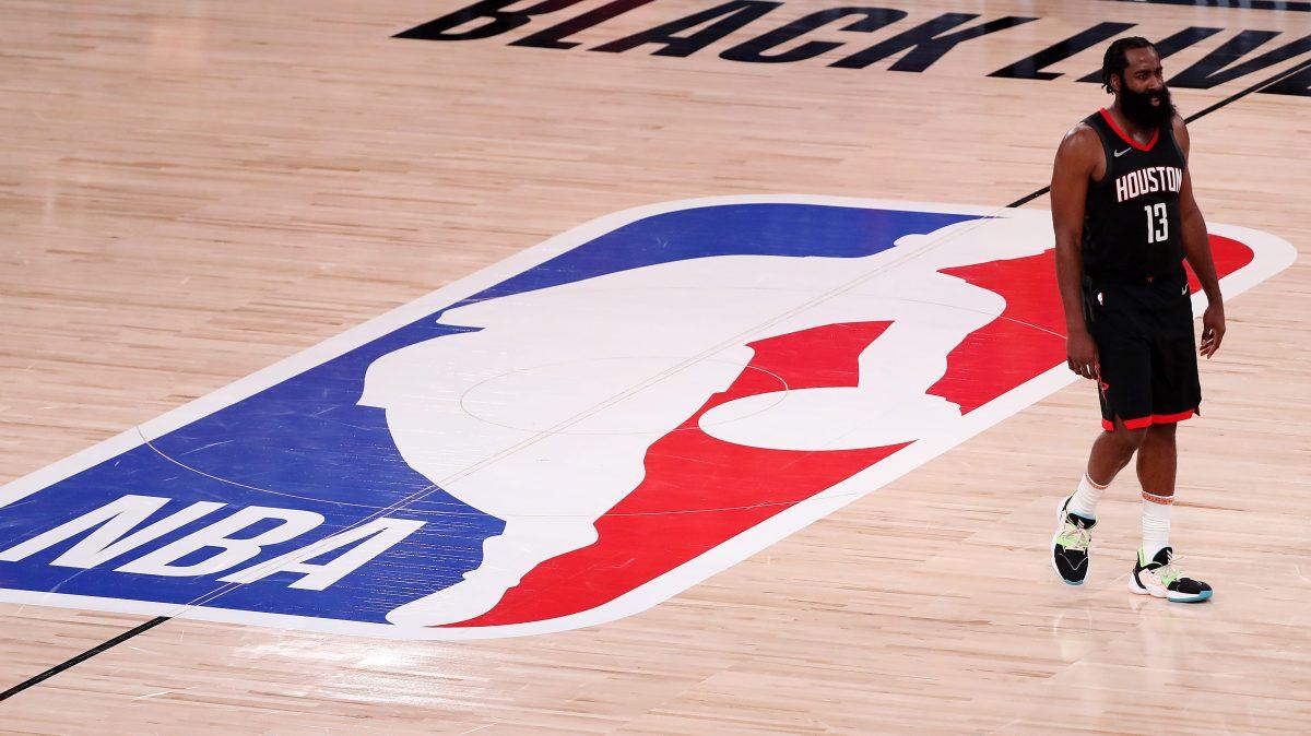 James Harden, Houston Rockets, stands near midcourt