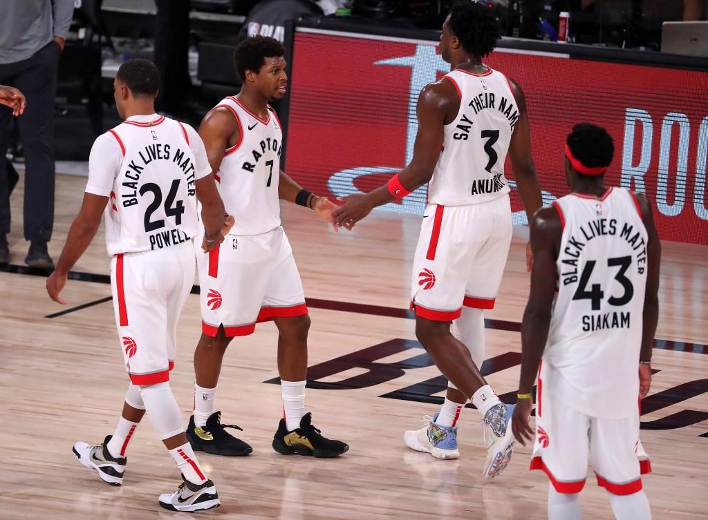 Toronto Raptors players shake hands