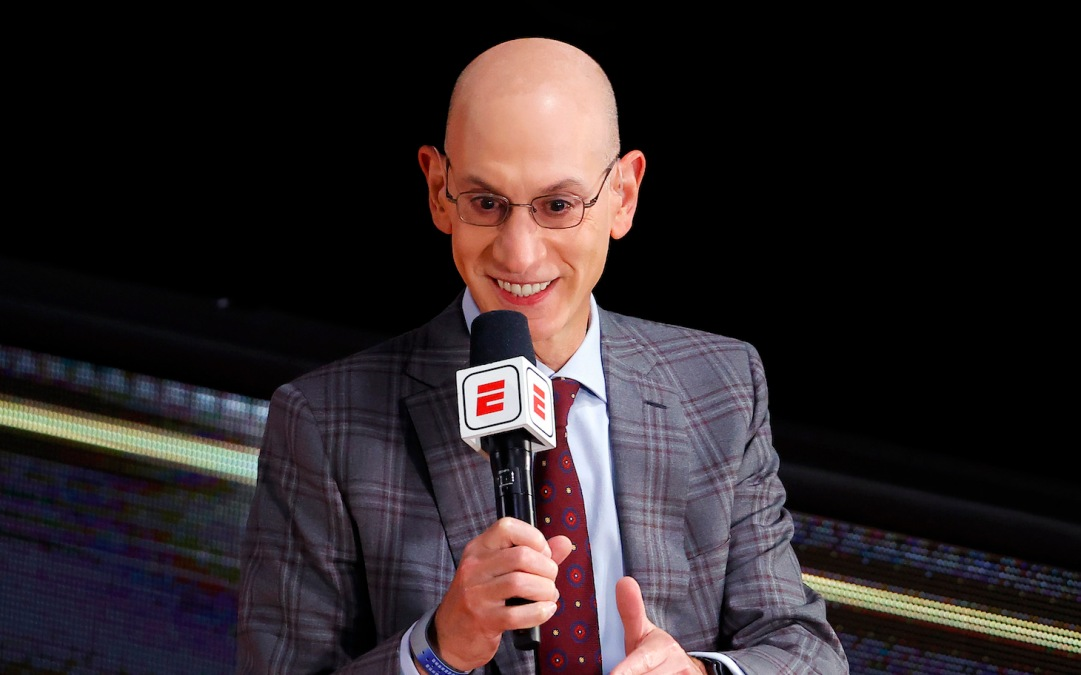 LAKE BUENA VISTA, FLORIDA - OCTOBER 04: NBA Commissioner Adam Silver is interviewed before Game Three of the 2020 NBA Finals between the Miami Heat and the Los Angeles Lakers at AdventHealth Arena at ESPN Wide World Of Sports Complex on October 04, 2020 in Lake Buena Vista, Florida. NOTE TO USER: User expressly acknowledges and agrees that, by downloading and or using this photograph, User is consenting to the terms and conditions of the Getty Images License Agreement. (Photo by Kevin C. Cox/Getty Images)