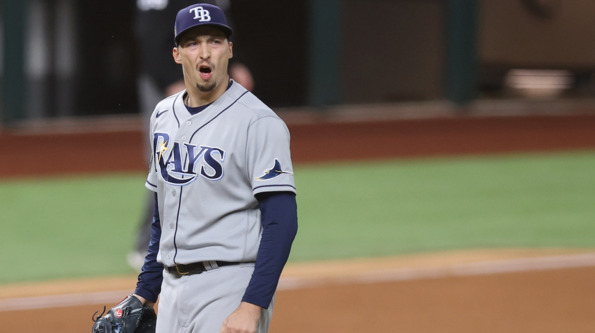 ARLINGTON, TEXAS - OCTOBER 27: Blake Snell #4 of the Tampa Bay Rays reacts as he is being taken out of the game against the Los Angeles Dodgers during the sixth inning in Game Six of the 2020 MLB World Series at Globe Life Field on October 27, 2020 in Arlington, Texas. (Photo by Tom Pennington/Getty Images)