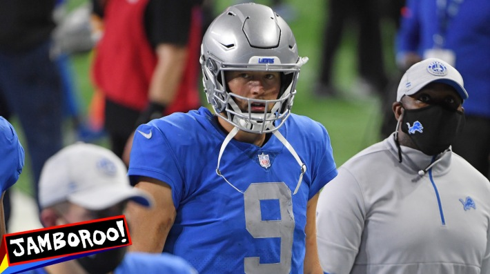 DETROIT, MICHIGAN - NOVEMBER 26: Matthew Stafford #9 of the Detroit Lions leaves the field following a game against the Houston Texans at Ford Field on November 26, 2020 in Detroit, Michigan. (Photo by Nic Antaya/Getty Images)