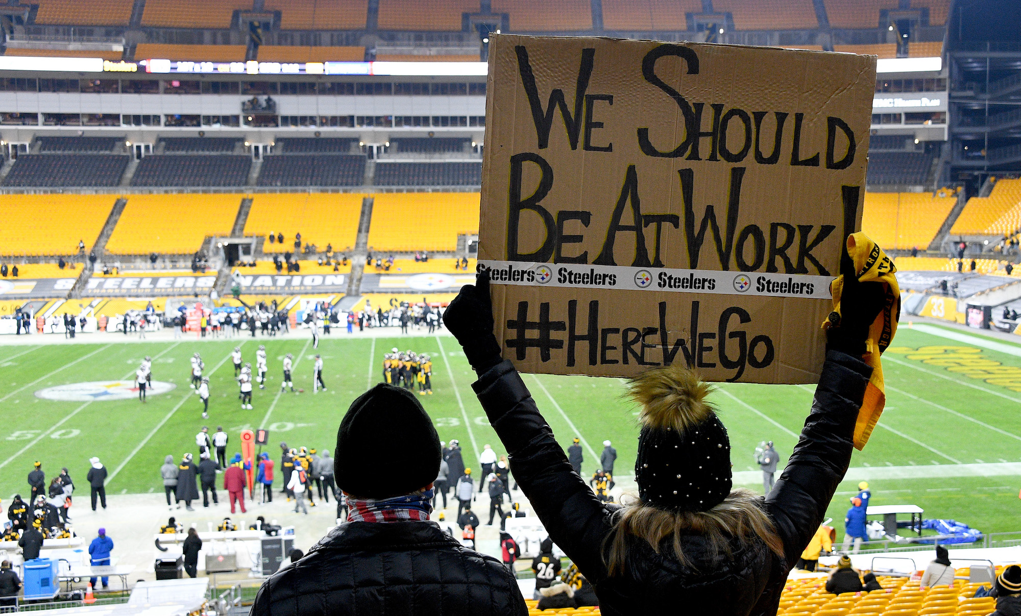 PITTSBURGH, PENNSYLVANIA - DECEMBER 02: A fan displays a sign during the third quarter of a game between the Pittsburgh Steelers and Baltimore Ravens at Heinz Field on December 02, 2020 in Pittsburgh, Pennsylvania. (Photo by Joe Sargent/Getty Images)