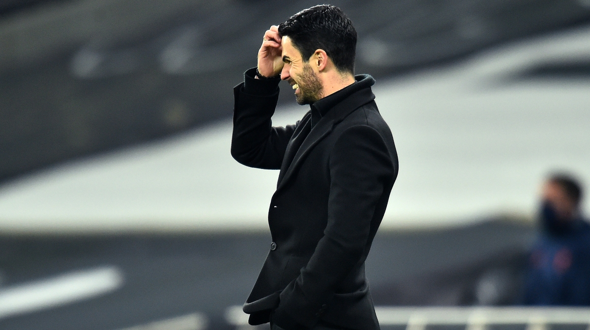 Mikel Arteta, Manager of Arsenal reacts during the Premier League match between Tottenham Hotspur and Arsenal at Tottenham Hotspur Stadium on December 06, 2020