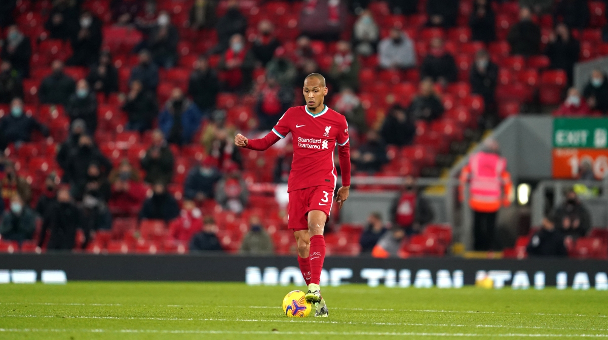 Fabinho of Liverpool in action during the Premier League match between Liverpool and Wolverhampton Wanderers at Anfield on December 06, 2020 in Liverpool, England.
