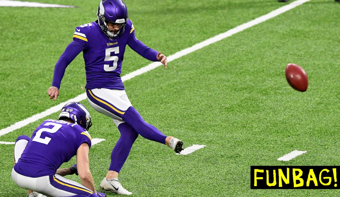 MINNEAPOLIS, MINNESOTA - DECEMBER 06: Dan Bailey #5 of the Minnesota Vikings kicked the game winning field goal to give the Vikings the 27-24 win over the Jacksonville Jaguars in overtime at U.S. Bank Stadium on December 06, 2020 in Minneapolis, Minnesota. (Photo by Hannah Foslien/Getty Images)
