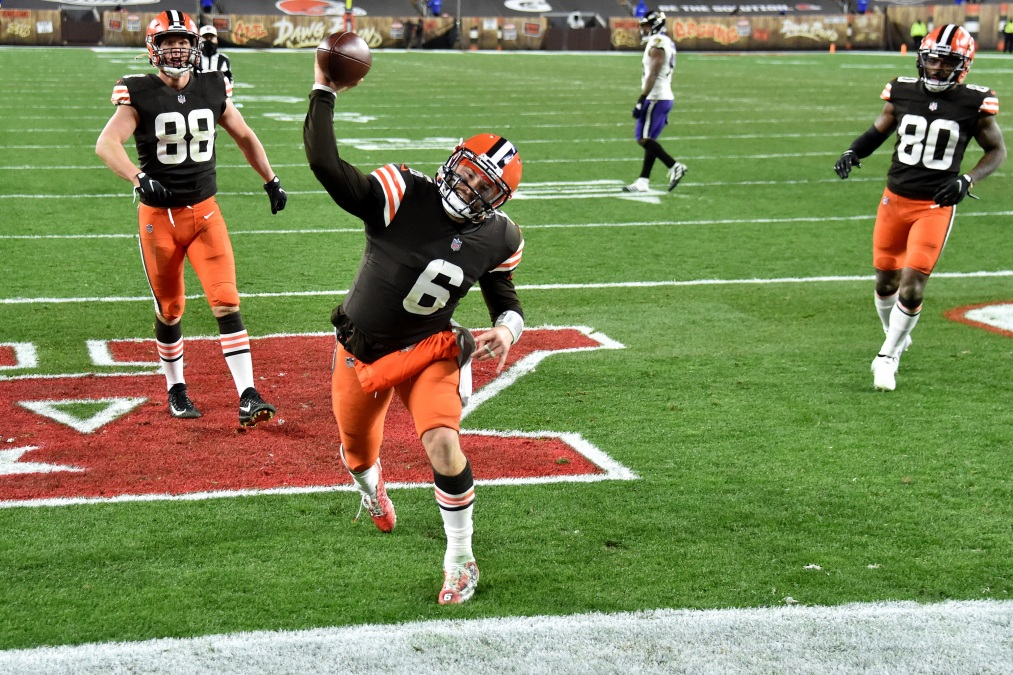 Baker Mayfield #6 of the Cleveland Browns celebrates a touchdown
