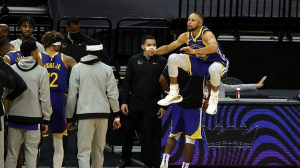 Stephen Curry of the Golden State Warriors jumps very high