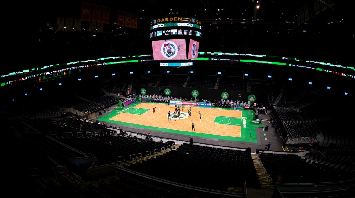 BOSTON, MASSACHUSETTS - DECEMBER 18: A general view inside TD Garden during the preseason game between the Boston Celtics and the Brooklyn Nets on December 18, 2020 in Boston, Massachusetts. NOTE TO USER: User expressly acknowledges and agrees that, by downloading and or using this photograph, User is consenting to the terms and conditions of the Getty Images License Agreement. (Photo by Maddie Meyer/Getty Images)