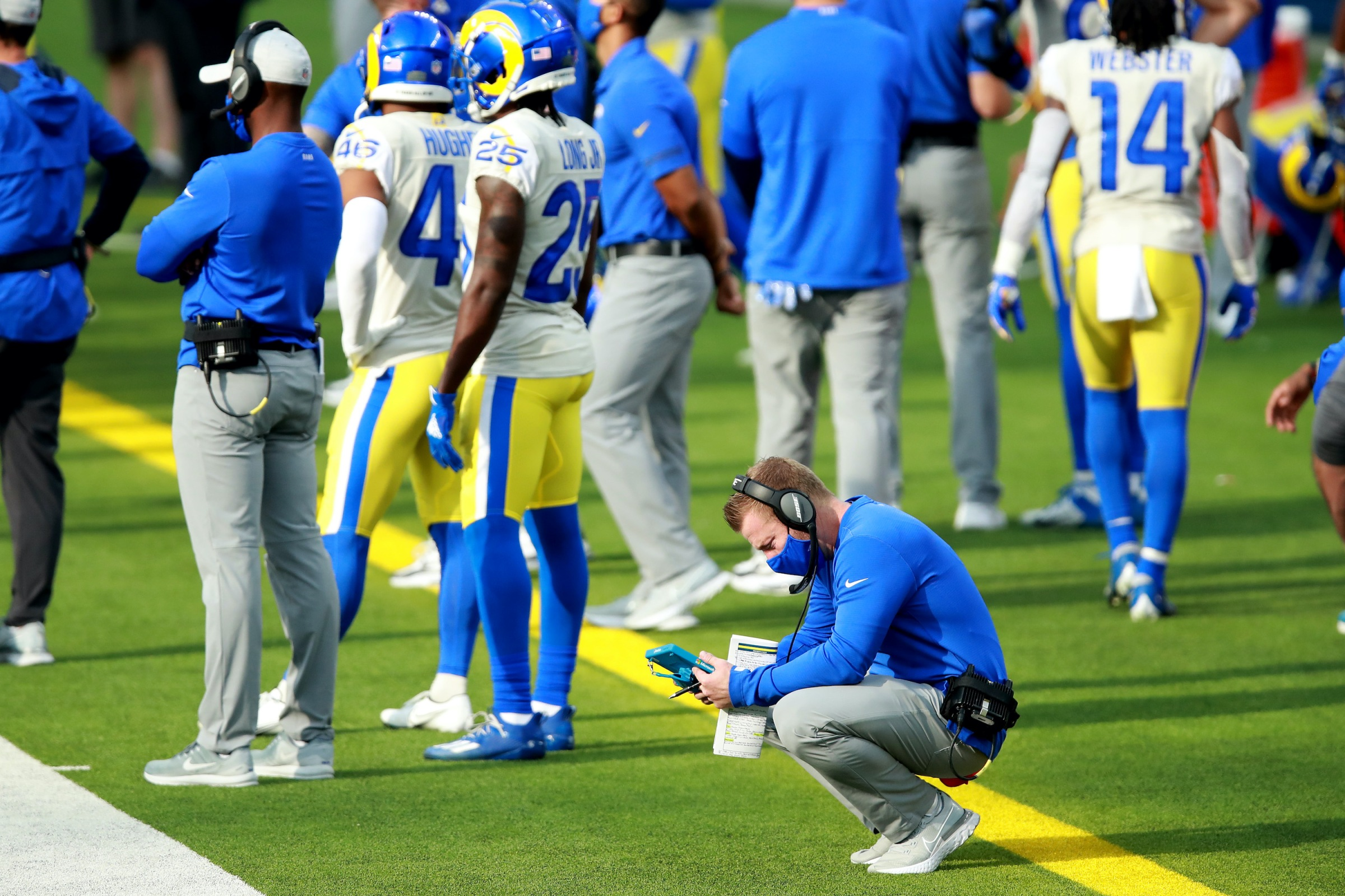 Head coach Sean McVay of the Los Angeles Rams watches a replay during the second quarter of a game against the New York Jets at SoFi Stadium on December 20, 2020 in Inglewood, California.