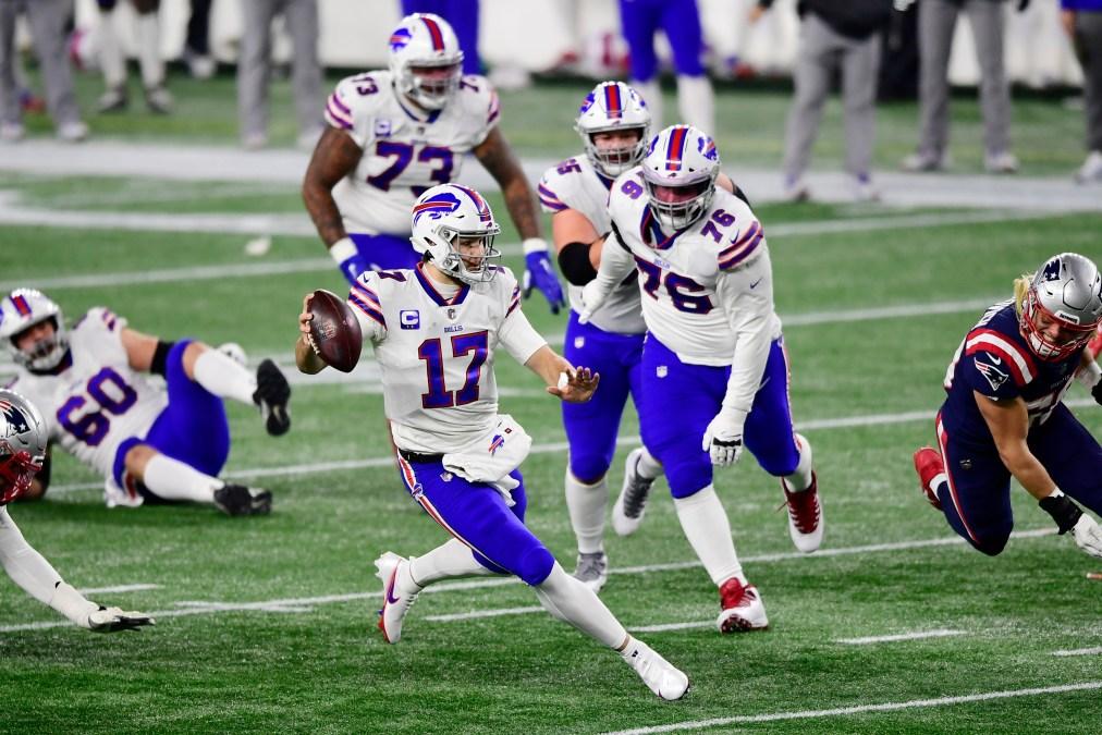 Josh Allen #17 of the Buffalo Bills runs the ball