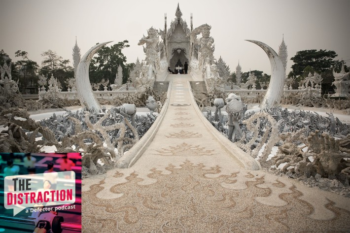 This is Wat Rong Khun in Chiang Rai, Thailand. It is extremely metal and weird.