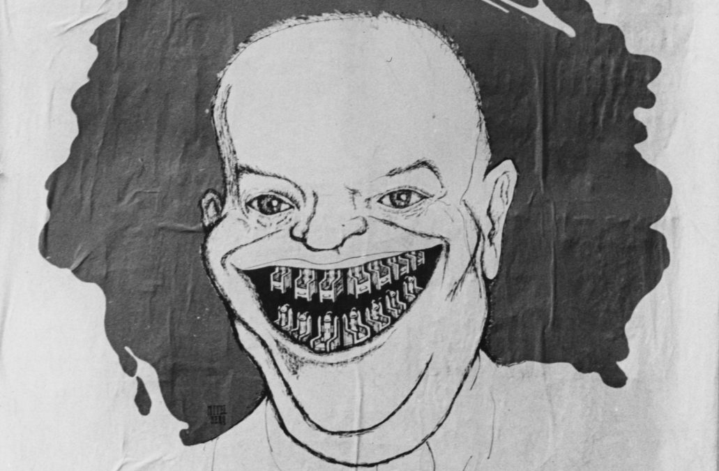A cartoon of Dwight Eisenhower from a French poster in 1953.