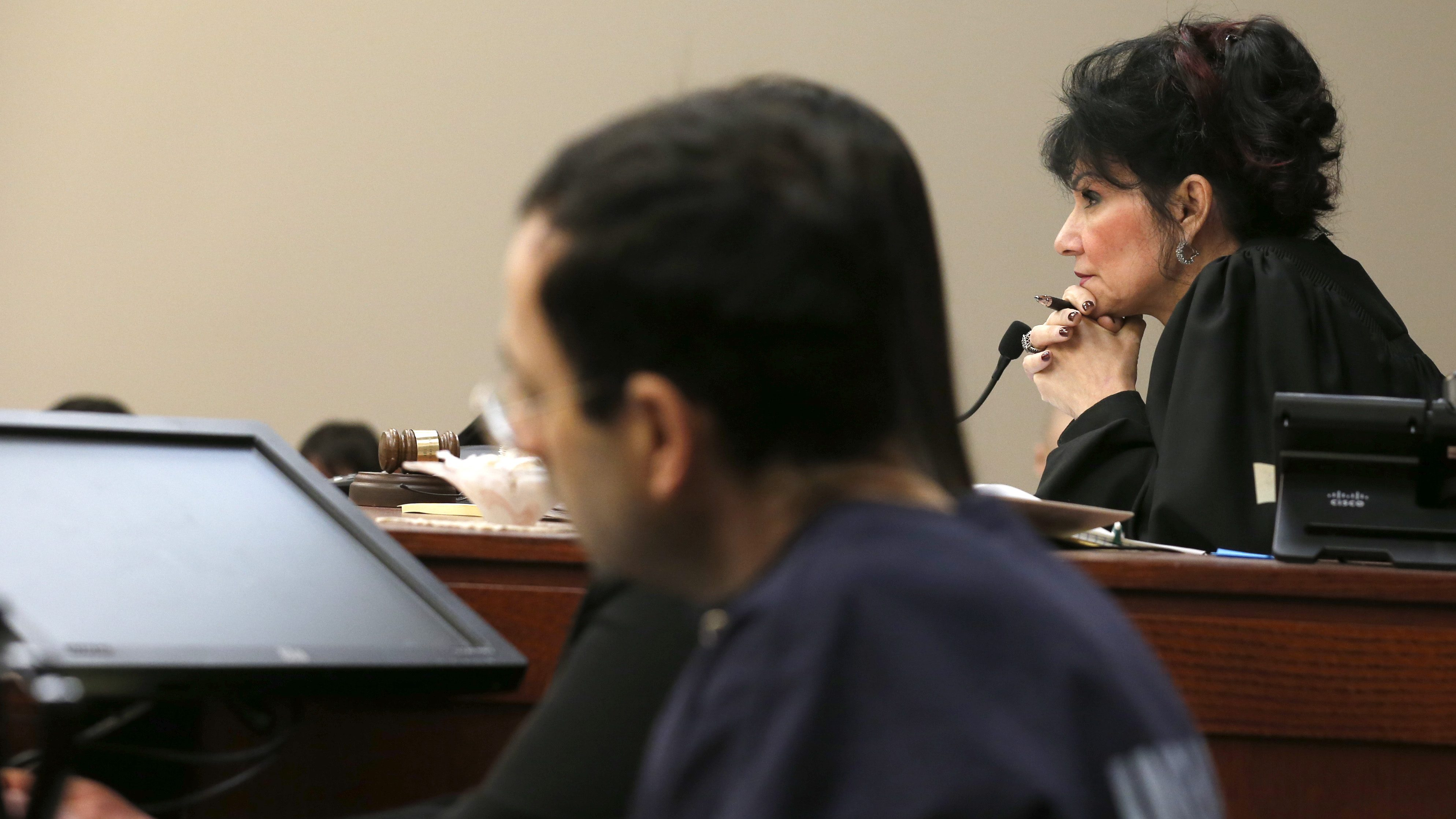 Judge Rosemarie Aquilina watches as Former Michigan State University and USA Gymnastics doctor Larry Nassar listens to impact statements during the sentencing phase in Ingham County Circuit Court on January 24, 2018 in Lansing, Michigan.