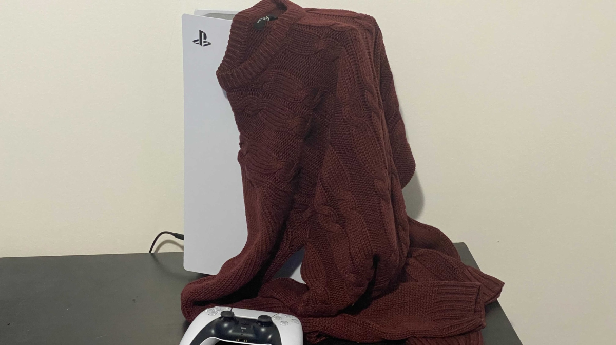 Sweater draped over a useless PS5