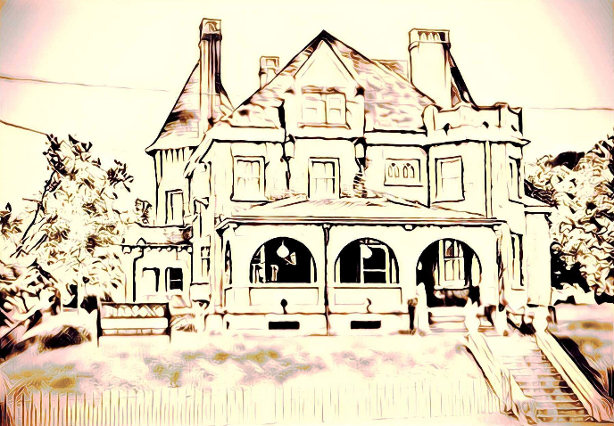 an overexposed rendering of a brick house with a big porch and two turrets