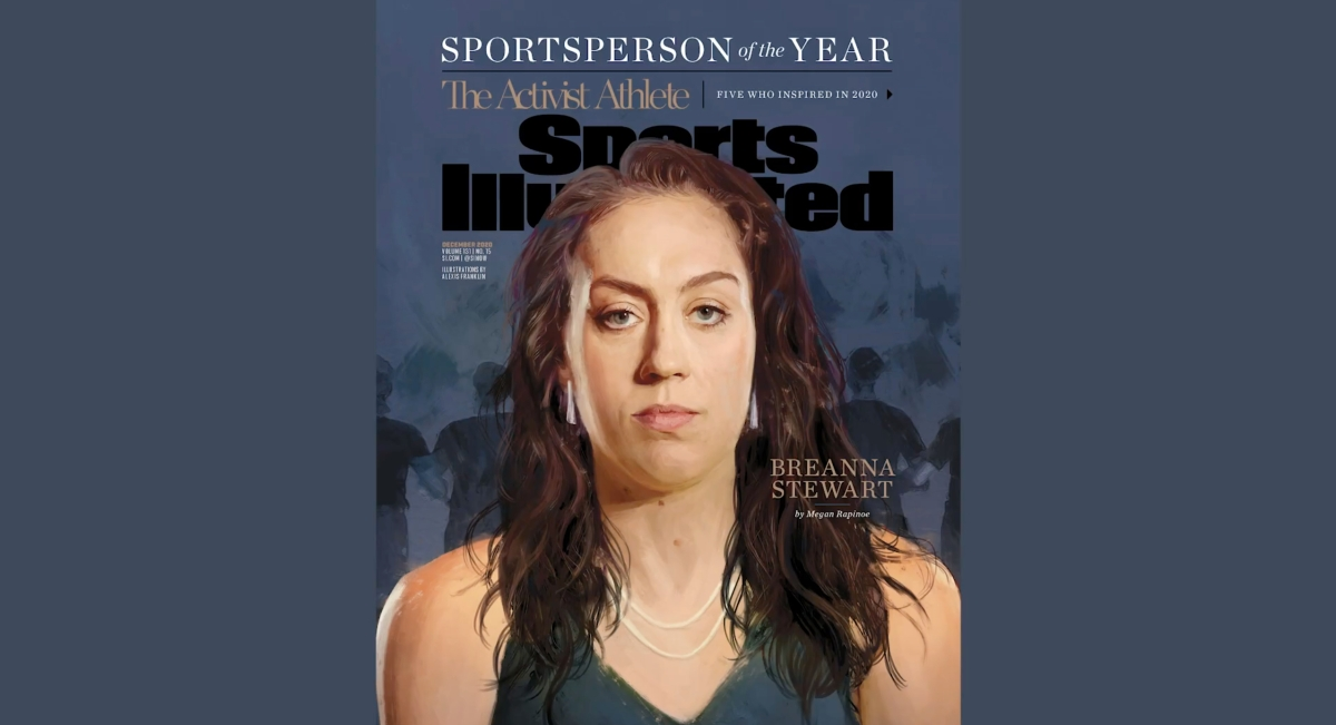Breanna Stewart of the Seattle Storm on the cover of Sports Illustrated's as one of the magazine's 2020 Sportsperson of the Year winners.