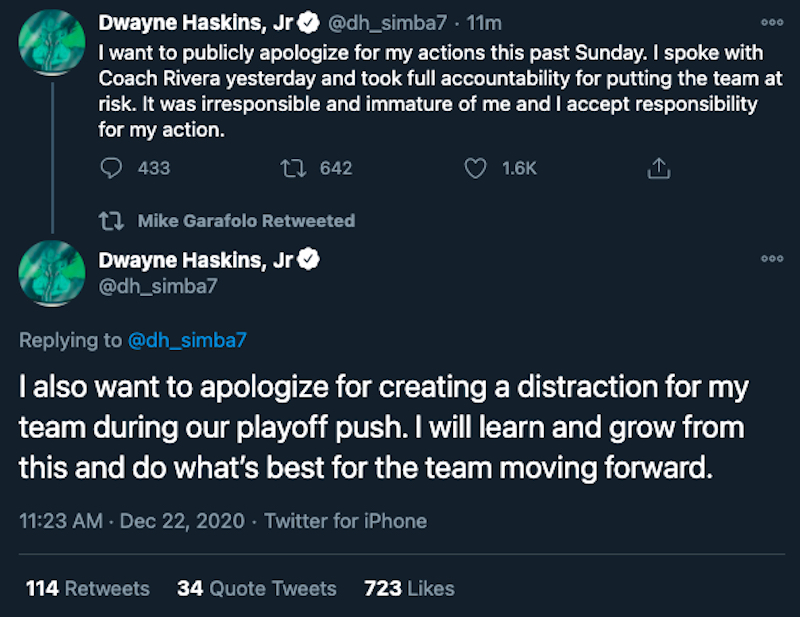 """Dwayne Haskins apologizes for """"putting the team at risk"""" by ignoring safety protocols while partying after Sunday's loss."""