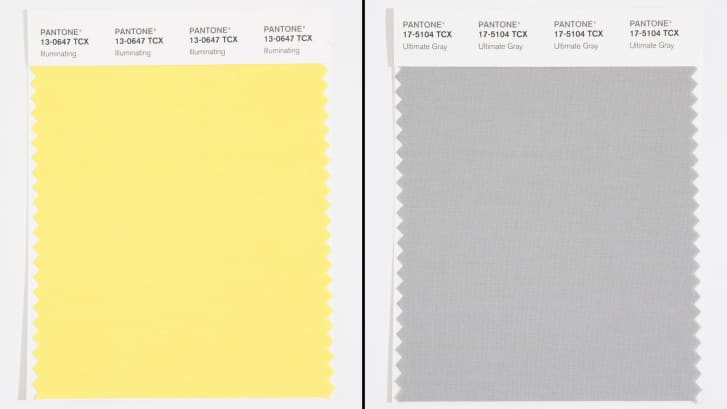 two color swatches, one a pale buttery yellow, the other an overcast gray