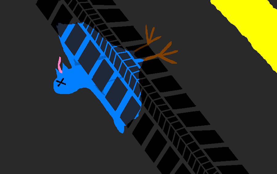 A cartoon image of a blue bird with X's for eyes and tire tracks across its body.