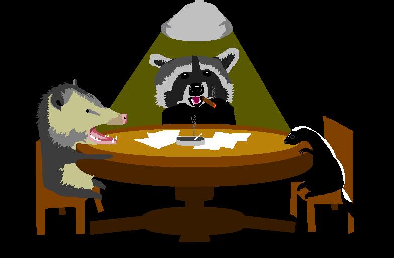 A cartoon possum, raccoon, and skunk huddle around a table.