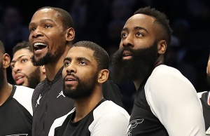 CHARLOTTE, NORTH CAROLINA - FEBRUARY 17: Members of Team LeBron watch play from the bench in the third quarter during the NBA All-Star game as part of the 2019 NBA All-Star Weekend at Spectrum Center on February 17, 2019 in Charlotte, North Carolina. NOTE TO USER: User expressly acknowledges and agrees that, by downloading and/or using this photograph, user is consenting to the terms and conditions of the Getty Images License Agreement. (Photo by Streeter Lecka/Getty Images)