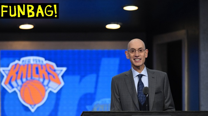 NEW YORK, NEW YORK - JUNE 20: NBA Commissioner Adam Silver prepares to announce the third overall pick by the New York Knicks during the 2019 NBA Draft at the Barclays Center on June 20, 2019 in the Brooklyn borough of New York City. NOTE TO USER: User expressly acknowledges and agrees that, by downloading and or using this photograph, User is consenting to the terms and conditions of the Getty Images License Agreement. (Photo by Sarah Stier/Getty Images)