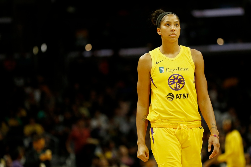 Candace Parker #3 of the Los Angeles Sparks looks on during a game against the Seattle Storm at Staples Center on August 04, 2019 in Los Angeles, California.