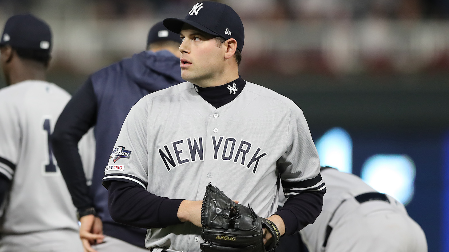 MINNEAPOLIS, MINNESOTA - OCTOBER 07: Adam Ottavino #0 of the New York Yankees is pulled after walking Nelson Cruz #23 of the Minnesota Twins in game three of the American League Division Series at Target Field on October 07, 2019 in Minneapolis, Minnesota. (Photo by Elsa/Getty Images)