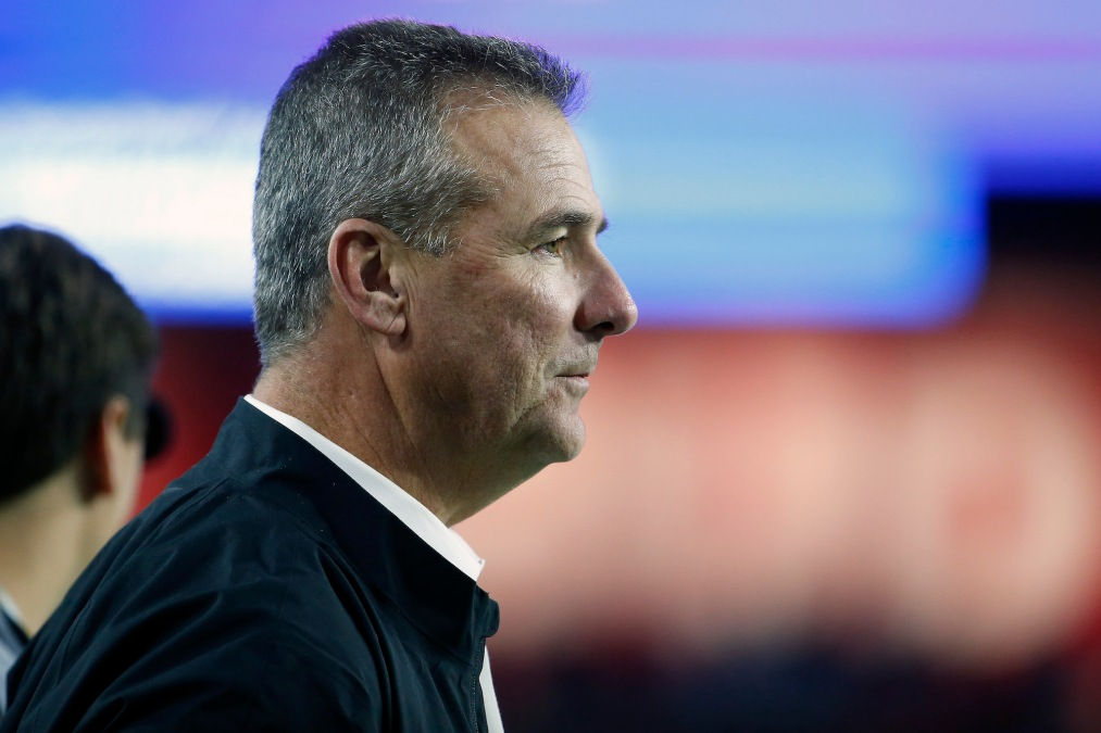 GLENDALE, ARIZONA - DECEMBER 28: Former Ohio State Buckeyes head coach Urban Meyer looks on during the College Football Playoff Semifinal between the Ohio State Buckeyes and the Clemson Tigers at the PlayStation Fiesta Bowl at State Farm Stadium on December 28, 2019 in Glendale, Arizona. (Photo by Ralph Freso/Getty Images)