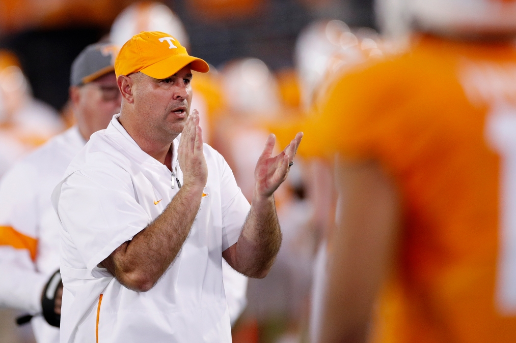 Head coach Jeremy Pruitt of the Tennessee Volunteers looks on in the first half of the TaxSlayer Gator Bowl against the Indiana Hoosiers at TIAA Bank Field on January 2, 2020 in Jacksonville, Florida.