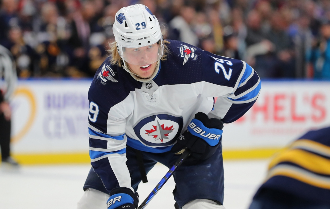BUFFALO, NY - FEBRUARY 23: Patrik Laine #29 of the Winnipeg Jets during a game against the Buffalo Sabres at KeyBank Center on February 23, 2020 in Buffalo, New York. (Photo by Timothy T Ludwig/Getty Images)