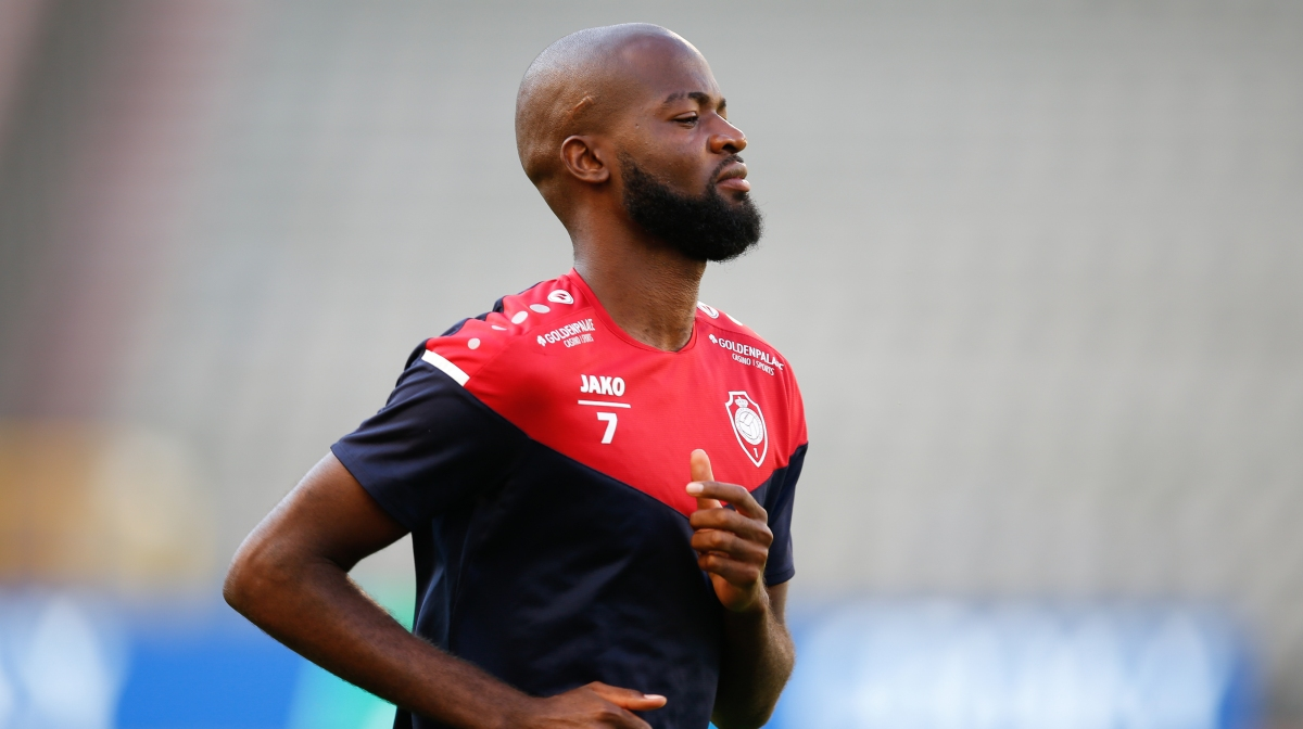 Antwerp's Didier Lamkel Ze pictured during a training session of soccer team Royal Antwerp FC, Friday 31 July 2020 in Brussels, in preparation of tomorrow's final of the 'Croky Cup' Belgian cup against Club Brugge KV.