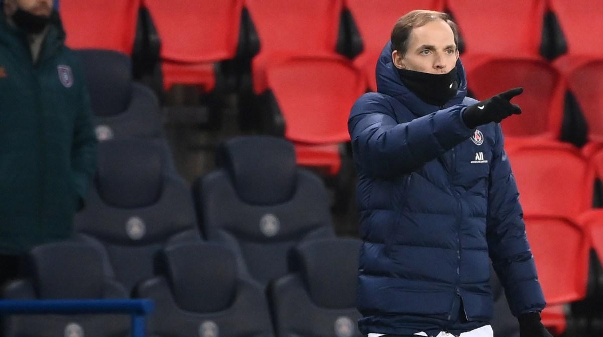 Paris Saint-Germain's German coach Thomas Tuchel gestures during the UEFA Champions League group H football match between Paris Saint-Germain (PSG) and Istanbul Basaksehir FK at the Parc des Princes stadium in Paris, on December 9, 2020.