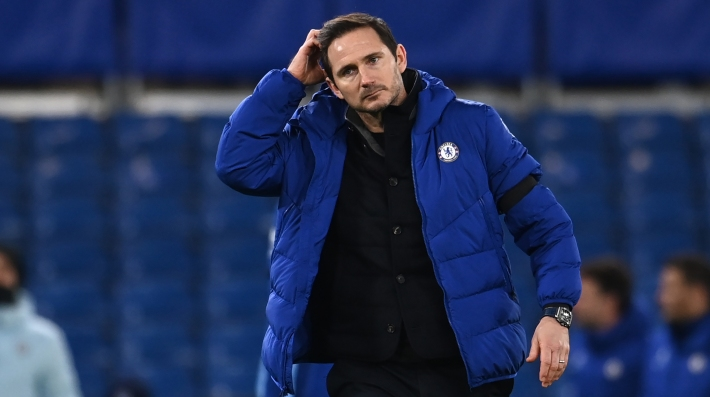 Chelsea's English head coach Frank Lampard reacts to their defeat on the pitch after the English Premier League football match between Chelsea and Manchester City at Stamford Bridge in London on January 3, 2021.