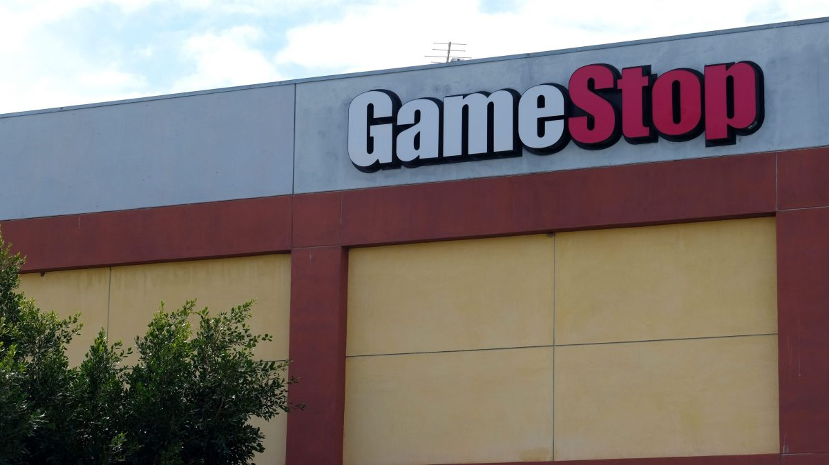 A Game Stop sign on a building