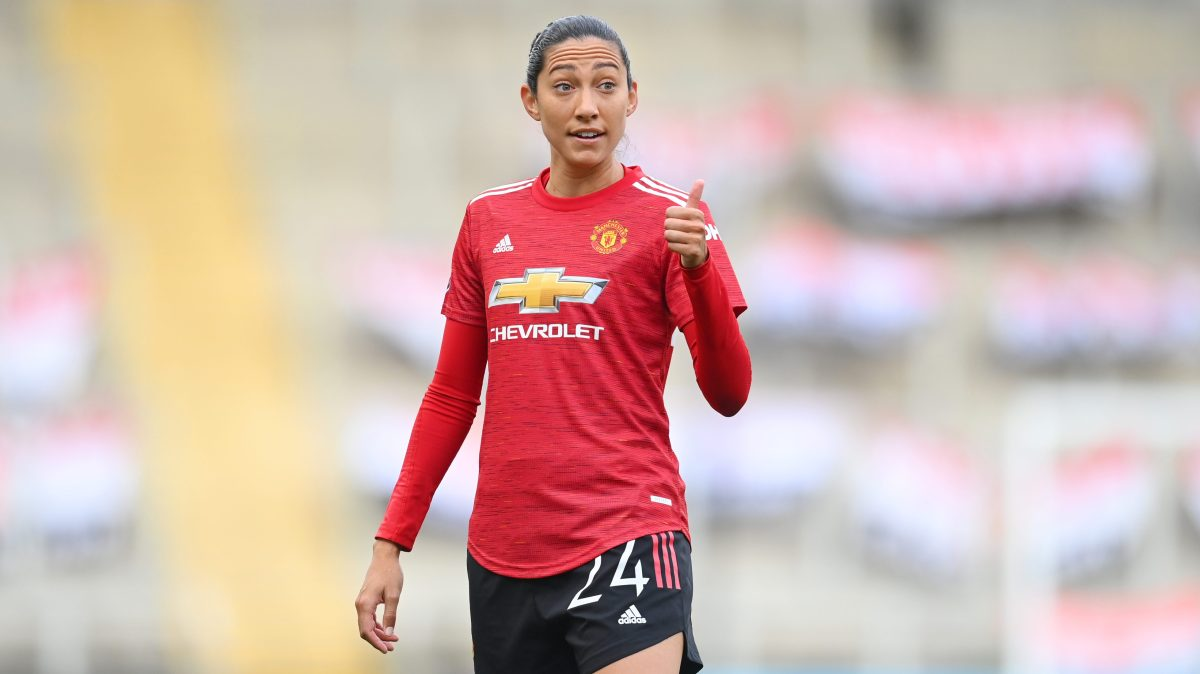 Christen Press of Manchester United looks on and gives a thumbs up during the Barclays FA Women's Super League match between Manchester United Women and Manchester City Women at Leigh Sports Village on November 14, 2020 in Leigh, England.
