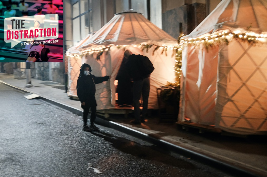 These strange yurts are now where people eat instead of inside restaurants.