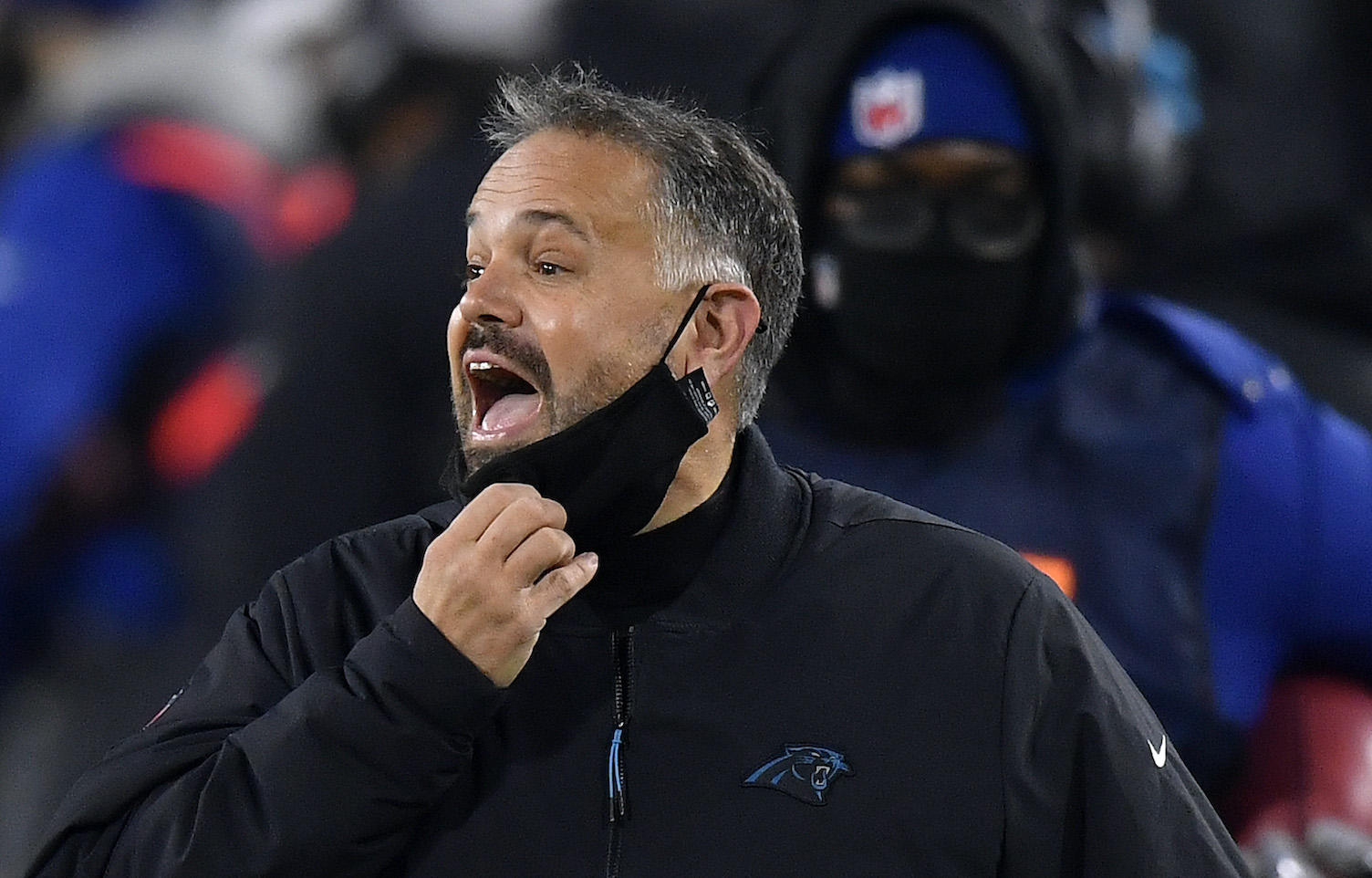 GREEN BAY, WISCONSIN - DECEMBER 19: Head coach Matt Rhule of the Carolina Panthers reacts from the sidelines during the first half of the game against the Green Bay Packers at Lambeau Field on December 19, 2020 in Green Bay, Wisconsin. (Photo by Quinn Harris/Getty Images)