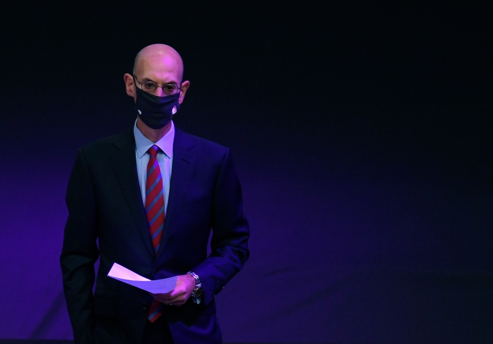NBA Commissioner Adam Silver waits to speak at the Los Angeles Lakers championship ring ceremony before the season opening game against the LA Clippers at Staples Center on December 22, 2020 in Los Angeles, California.