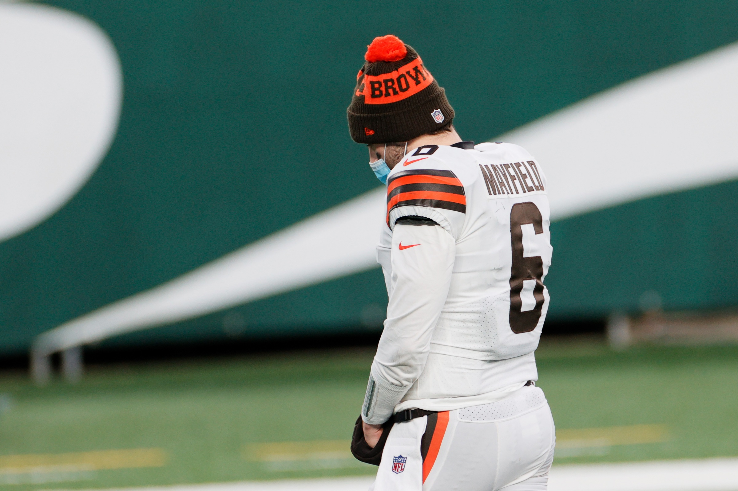 Baker Mayfield #6 of the Cleveland Browns walks from the field